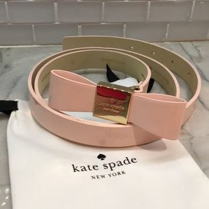💝Kate Spade Bow Belt Leather Pink Blush Small